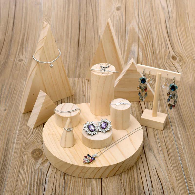 Деревянная витрина для украшений стенд серьги, кольцо, ожерелье, браслеты дисплей подставка из дерева ювелирные изделия демонстрация витрина