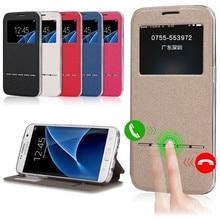 Стильный кожаный вид сзади окна Coque Smart Презентация флип чехол для Samsung Galaxy Note 5 S7 S6 край J5 J7 с подставкой держатель