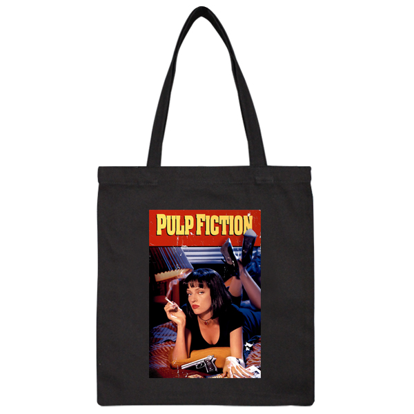 467d1912792 Black Pulp Fiction Movie Mia Poster Smoking Girl Rock Handbag Shoulder  Shopping Bag Tote Bag Gift