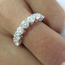 0.7ctw 3mm DF Runde Cut Engagement & Hochzeit Moissanite Labor Gezüchtet Diamant Band Ring Sterling Silber für Frauen