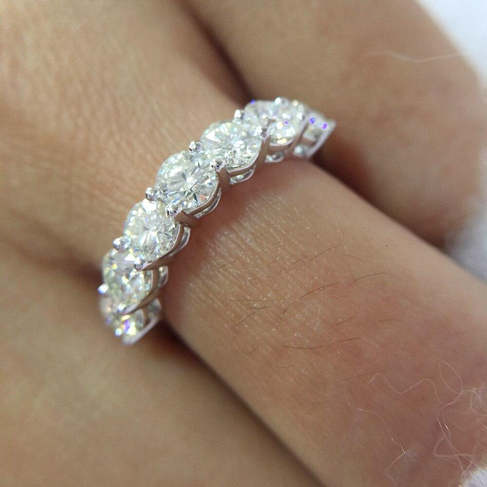 0.7ctw 3mm DF rond coupe fiançailles et mariage Moissanite Lab cultivé diamant bande anneau en argent Sterling pour les femmes