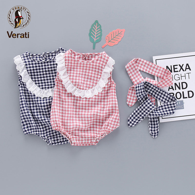 VERATI Cute Plaid Lace Baby girl Onesie Bodysuits 2018 summer Baby sleeveless Overalls with Headwear Two Pieces Bodysuits V073