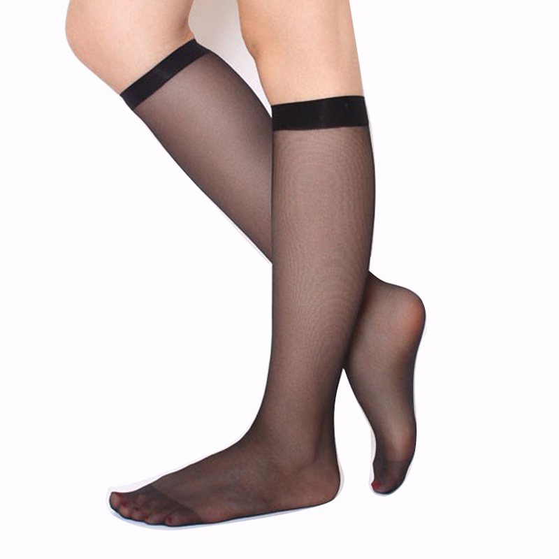 Skritts 1pair/3Pairs Summer Lady Solid Nylon Stockings Fashion Woman Transparent Stockings For Summer Knee Highs Socks Hosiery