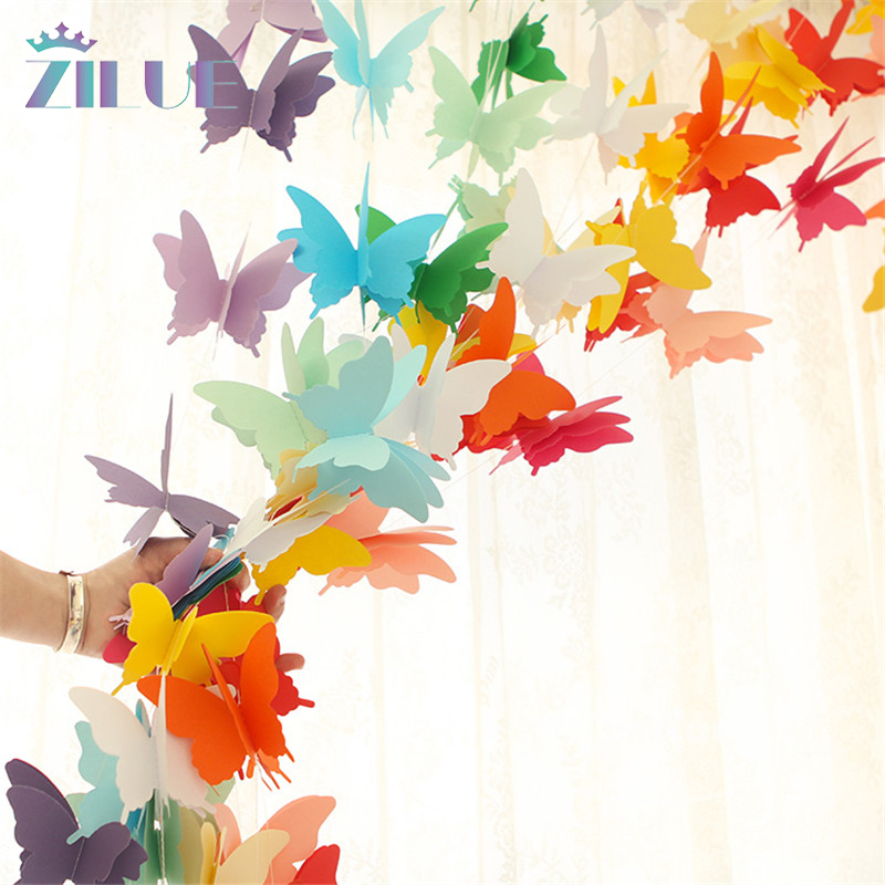 Zilue 2pcs 2.8m Butterfly Balloon Paper Garlands Colorful Christmas Wedding Party Banner Hanging Paper Garland Room Decoration