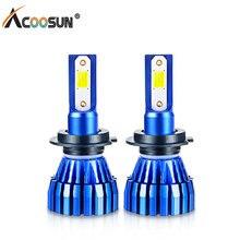 Acoosun светодиодный H7 светодиодный свет автомобиля COB Чип фонарь светодиодный H3 H1 H11 12 V 8000LM лампы светодиодный HB3 HB4 9005 9006 50 W 6500 K Авто Лампа