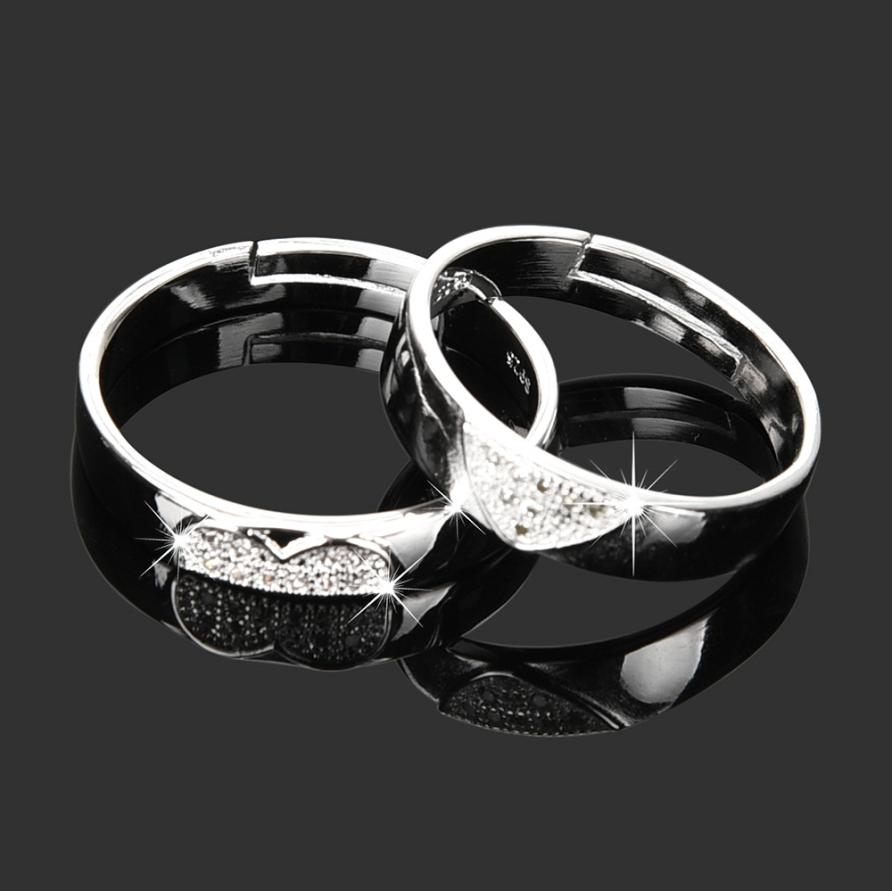 2018 New 1 pair Women Men Love Heart Shape Promise Band Opening Ring for Lover Wedding Jewelry Gift Amazing hot sales Jan 12