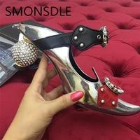 SMONSDLE 2018 Новый стиль женские туфли лодочки из лакированной кожи Острый носок с прозрачной пряжкой Для женщин Шлёпанцы обувь на необычном каб