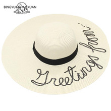 BINGYUANHAOXUAN  Brand 2018 Letter Embroidery Cap Big Brim Ladies Summer Straw Hat Youth Hats for Women Shade Sun Beach