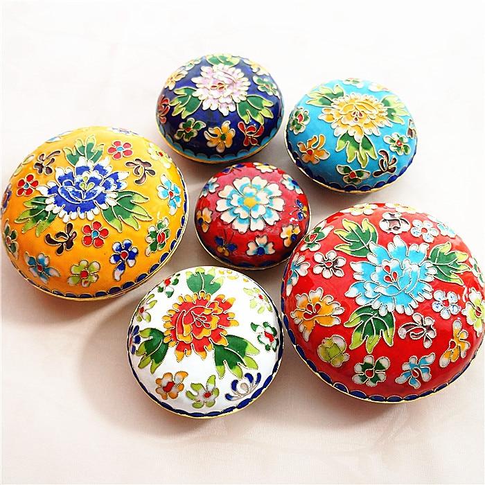 65mm Collectible Handmade Copper Brass Cloisonne Enamel Makeup Boxes Various Styles Antiques Asian Antiques