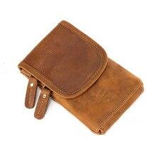 5-6 inch mobile phone bag leather head layer cowhide vintage pants belt hanging