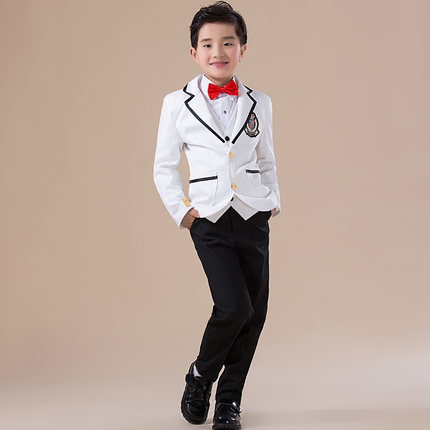 High quality 2016 new fashion baby boys kids blazers boy suit for weddings prom formal Black & white dress wedding boy suits 5pcs high quality 2016 baby boys kids blazers boy suit for weddings prom formal sequin dress wedding performance clothing suits