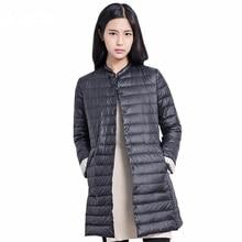 Случайные Сверхлегкий Вниз Пальто Женщин Зимняя Куртка женщин Вниз Куртки Длинный Тонкий Вниз Пальто
