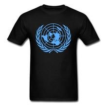 United Nations T-shirt Men Black Blue T Shirt Globle Print Tshirt Custom 100% Cotton Fabric Tops Tees Father Day Gift Clothing best dad tshirt funny design father day t shirt 100% cotton fashion gift t shirt eu size