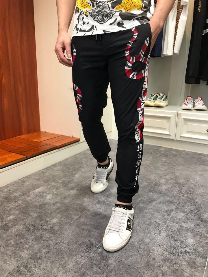 Hombres Europeo Estilo Moda Ropa Pista 2019 Diseño Ah03628 Lujo Pantalones Famosa De Marca blanco Negro Los La Fiesta EZnAOx7Aq