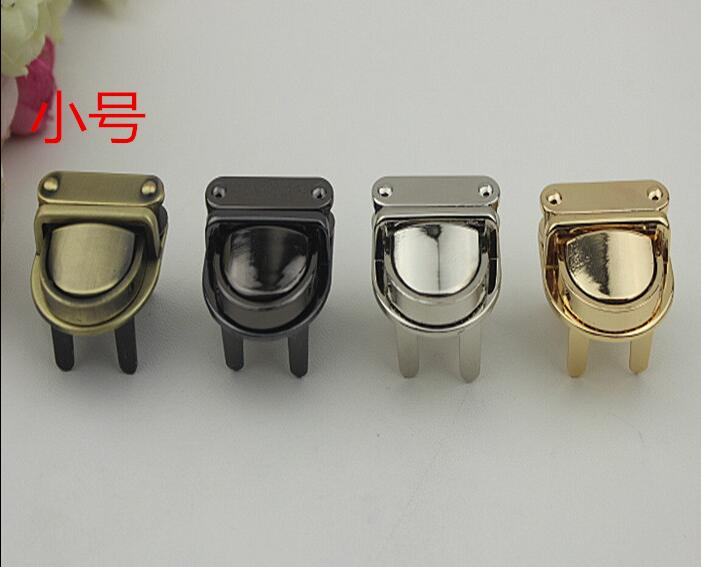 4 Color (10 PCS/lot) High-end Electroplating Leather Insert Lock Diy Metal Handbags Decorative Buckle Accessories