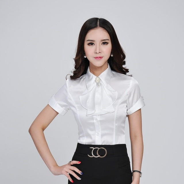 4abce936e1 New 2015 Summer Formal White Blouse Women Shirts OL Ladies Office Uniform  Blouses Ruffles Tie Short Sleeve Female Tops