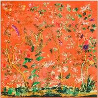 Invierno Patrón 130 cm * 130 cm Sarga de Seda Real De Flores Y Pájaros En Estilo Chino Se Pañuelo de Las Señoras bufandas Bufanda de La Manera