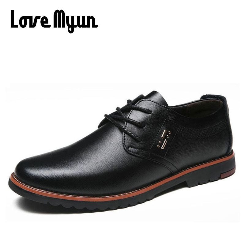 2018 brand new spring men fashion Genuine Leather casual lace up shoes flat Breathable dress wedding Working Office Shoes WA-76