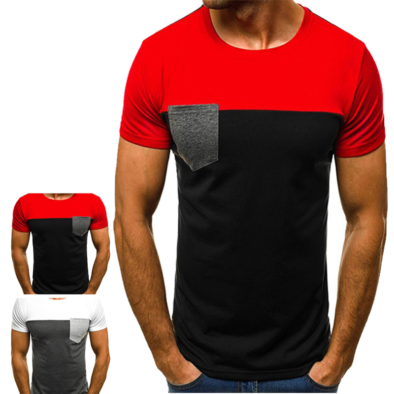 New Men\s T Shirt Summer Sports Running Top Short Sleeve Casual O Collar Cotton Fitness Sportswear