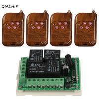 QIACHIP 433Mhz Wireless Remote Control Light Switch DC 12V 4CH Relay Receiver Module RF Transmitter 433