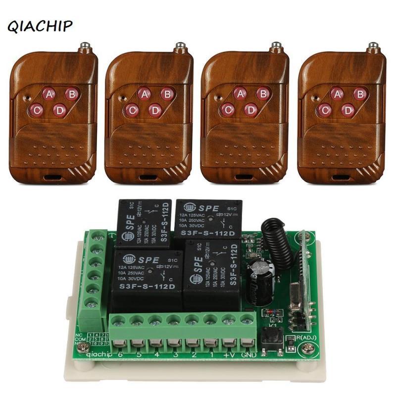 QIACHIP 433Mhz Wireless Remote Control light Switch DC 12V 4CH relay Receiver Module RF Transmitter 433 Mhz Remote Controls H1 qiachip 4pcs rf transmitter 433 mhz remote controls 433mhz wireless remote control switch dc 12v 1ch rf relay receiver module
