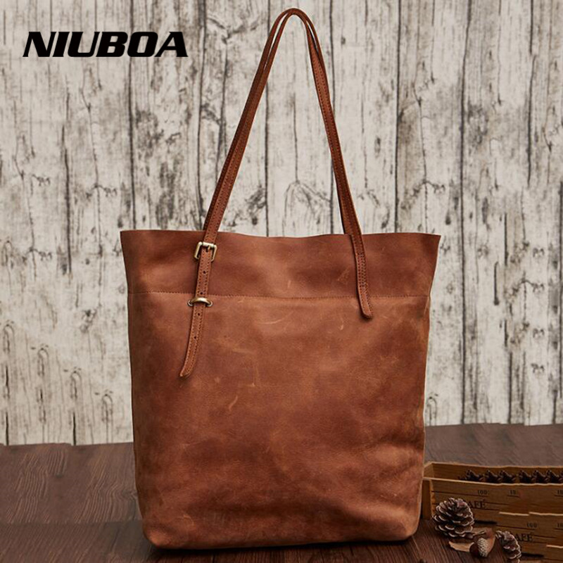 NIUBOA Vintage Genuine Leather Women Handbag Fashion High Quality Bucket Natural Cowhide Shoulder Bag Women Big Bag Casual Tote niuboa soft genuine leather women tote bag leather vintage brand work handbag new euro women bucket bag elegant shoulder bags