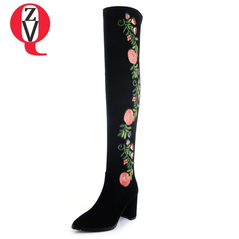 ZVQ 2018 new popular kid suede embroider women shoes super high square heel pointed toe zip black winter warm over knee boots zvq 2018 new popular kid suede embroider women shoes super high square heel pointed toe zip black winter warm over knee boots