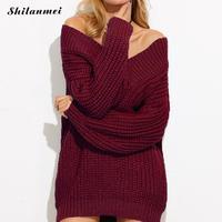 מכתפי אלסטיות נשים בגדי חורף סתיו סוודר עבה 2017 נשים סיבתי loose שרוול ארוך סרוג jumper למשוך femme