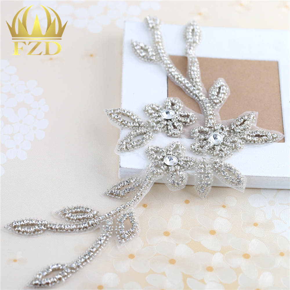 1 Piece Clear Rhinestones Handmade Sewing On Sliver Crystal Beaded Beaded Applique Rhinestone Trim For Belts Dress Decor
