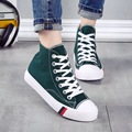 High Top Lace Up Womens Canvas Shoes 2017 Spring Autumn New Flat Female Casual Shoes Student Footwear Solid Color Chaussure