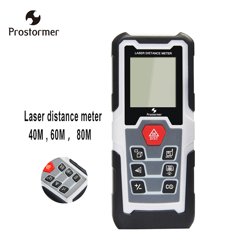 Prostormer Digital laser distance meter 40M 60M 80M Handheld Mini Rangefinder Laser Tape Range Finder Diastimeter Measure Tool mini handheld digital laser distance meter 60m rangefinder trena laser tape range finder build measure device ruler test tool