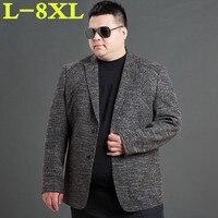 Большие размеры 8XL 7XL 6XL Новое поступление фирменная одежда, пиджак весна пиджак Для мужчин Блейзер Мода тонкий мужской костюмы повседневные