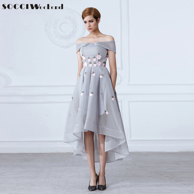 7a3dc25b6fb5 Stylish Grey Evening Dresses 2019 Off Shoulder Sexy Appliques Flower Short  Front Long Back Dress Women Elegant Formal Party Gown