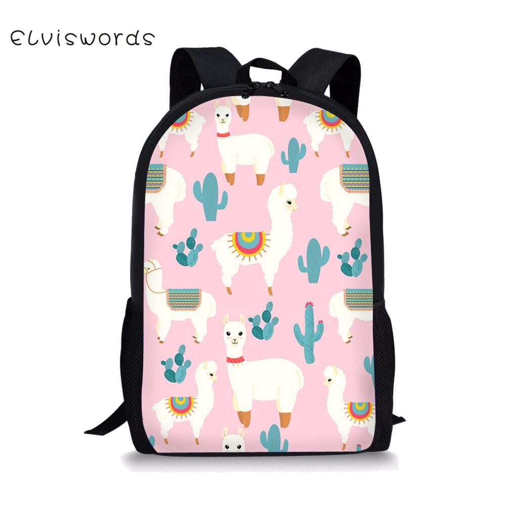 ELVISWORDS Cute Alpaca Printed Schoolbag for Boys Girls Stylish Cool Elementary School Students Bag Lightweight Laptop Bags