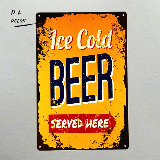 DL ICE COLD BEER served Here Tin Sign Metal Wall Decor Bar Pub ...