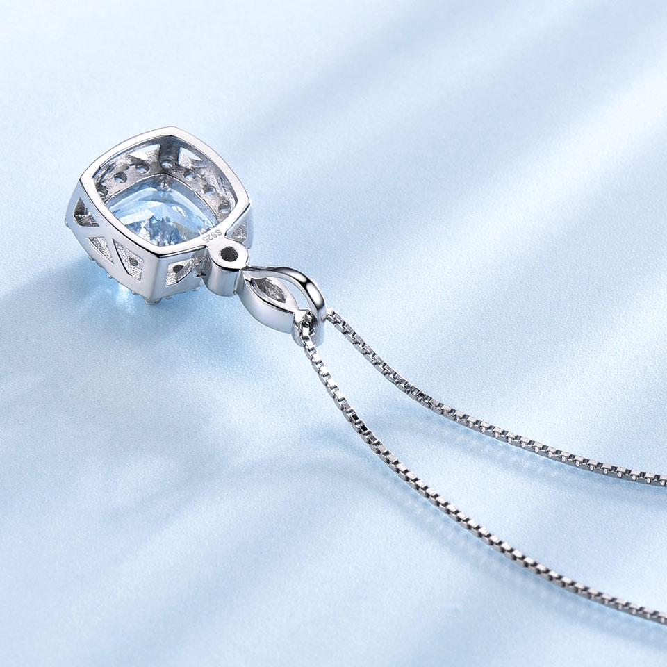 UMCHO 925 Sterling Silver Halsband Hängen Himmel Blå Topaz Halsband - Fina smycken - Foto 3