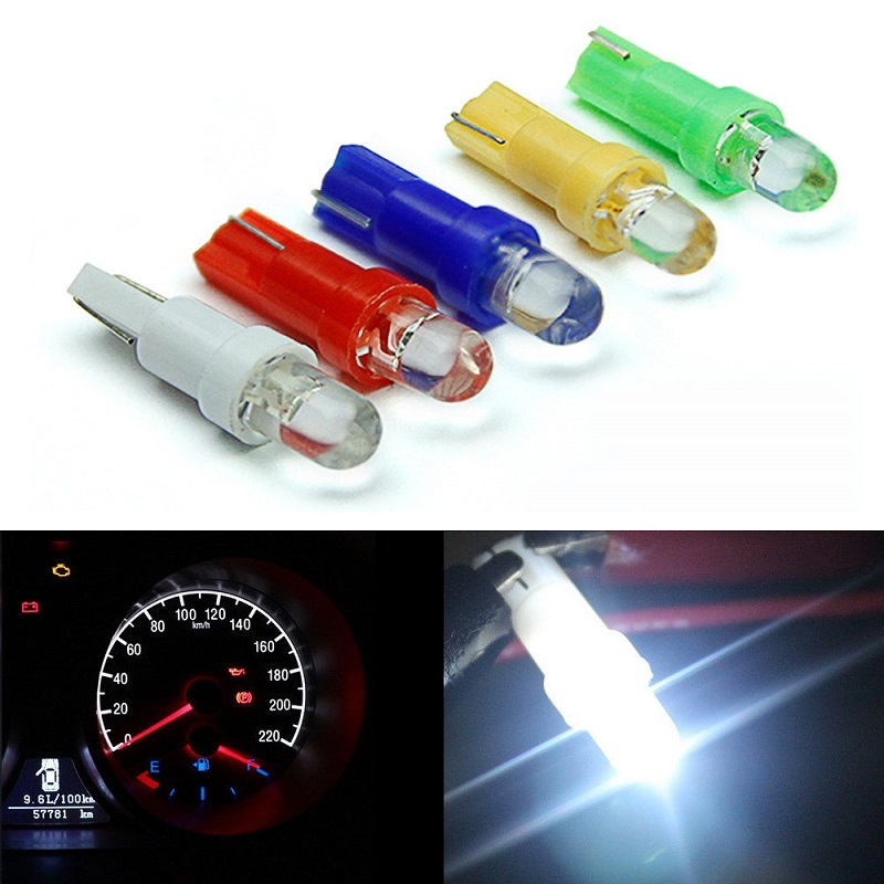 10Pcs <font><b>T5</b></font> <font><b>Led</b></font> 1 SMD Car Interior Lamp Gauge Instrument Dashboard Light Bulb DC12V White Yellow Blue Red Green Car Side Wedge Lamp image