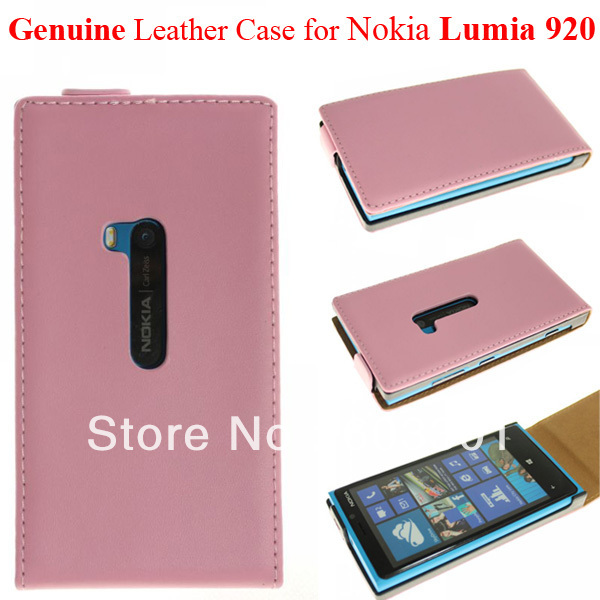 Genuine Leather flip case for Nokia Lumia 920, N920 flip cover, PP bag packing, N920 case