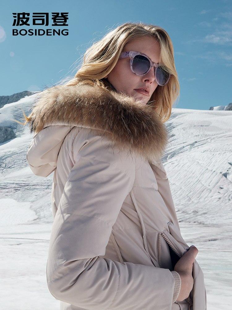 BOSIDENG winter thicken   down   jacket new women warm   down     coat   real fur collar hooded long parka waterproof windbreaker B80141038