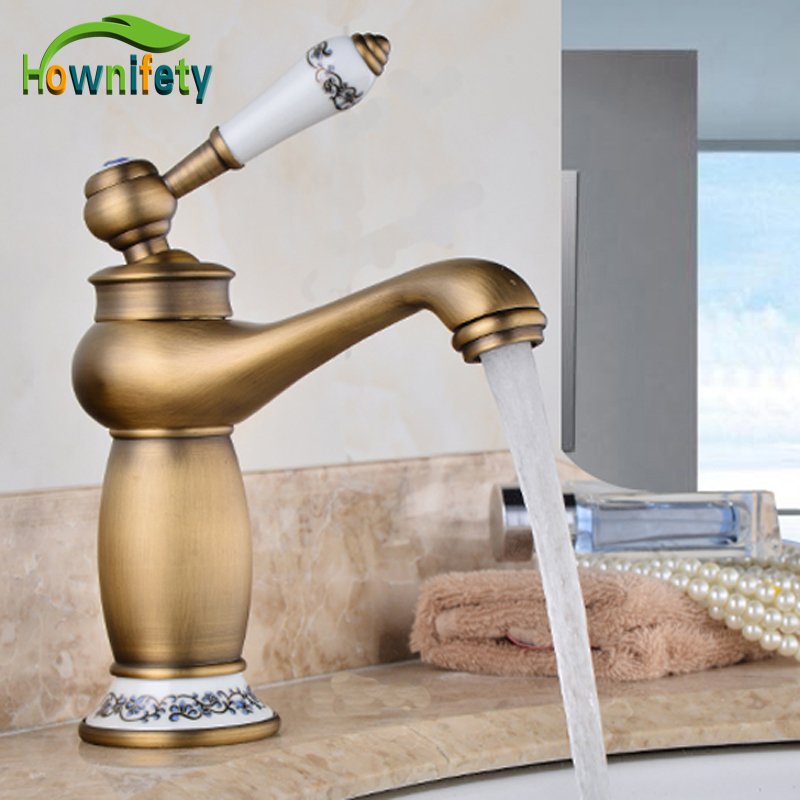Free Shipping Antique Brass Basin Faucet Bathroom Washing Tap Retro Style Hot And Cold Water Sink Mixer Faucet swan shape antique bathroom brass basin faucet hot and cold copper retro sink basin faucet mixer water tap golden free shipping