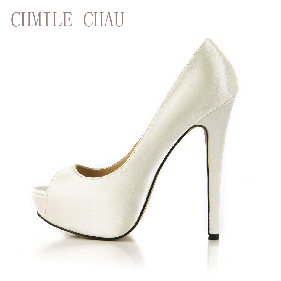 цены CHMILE CHAU Ivory Satin Sexy Bridal Party Shoes Women Peep Toe Stiletto High Heels Platform Ladies Pumps Zapatos Mujer 3463B-h3