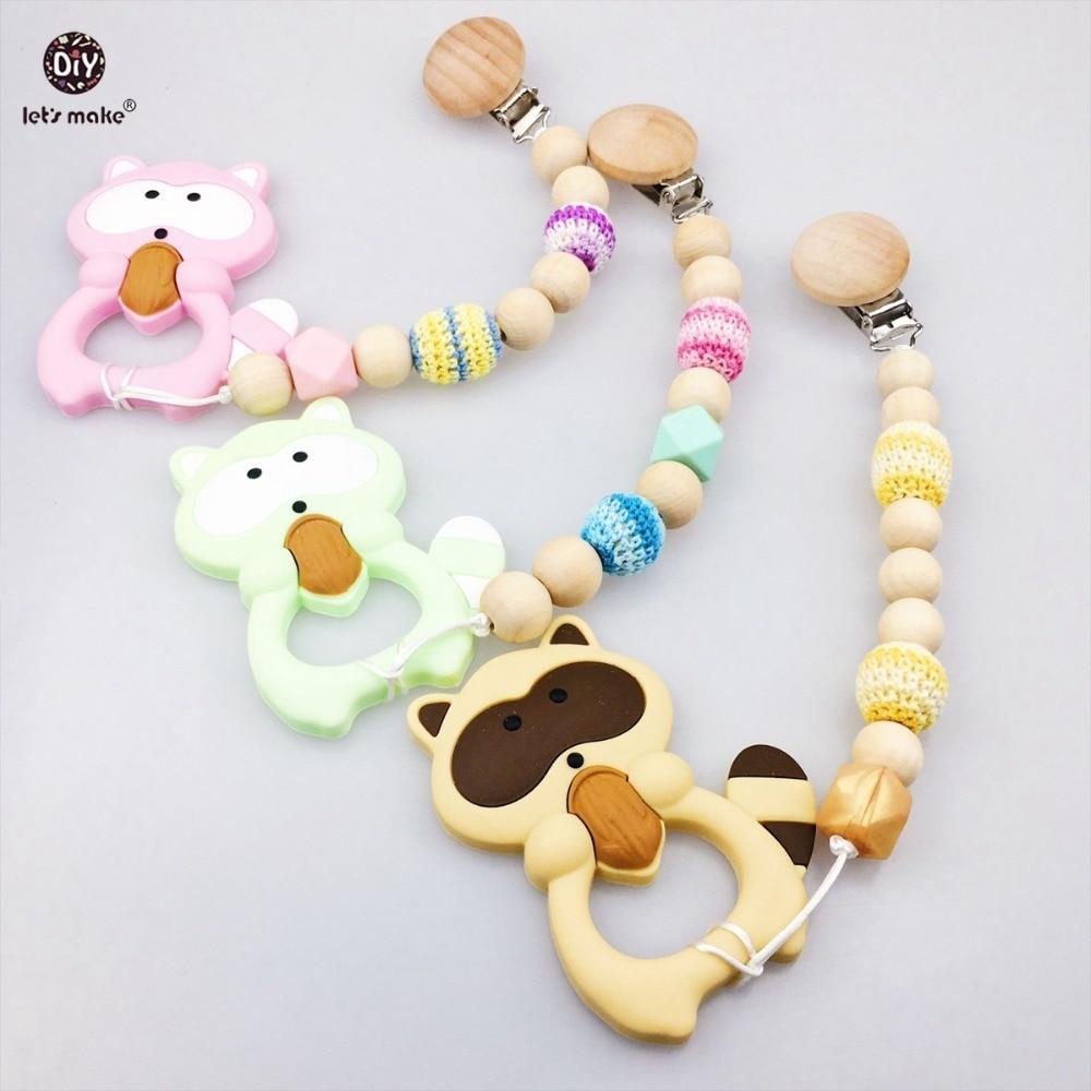 Եկեք պատրաստենք մանկական բուժքույրական պարագաներ 3 հատ Log Pacific Clip Raccoon Crochet Beads Chew Wood Beads փայտյա ճոճանակներ Baby Teether