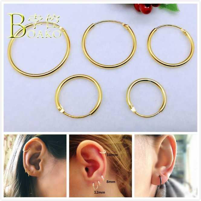 BOAKO Mini 925 เงินสเตอร์ลิงต่างหูผู้หญิง/ผู้ชายขนาดเล็ก Hoop ต่างหูหูทองสีดำต่างหู mujer aretes หู B5