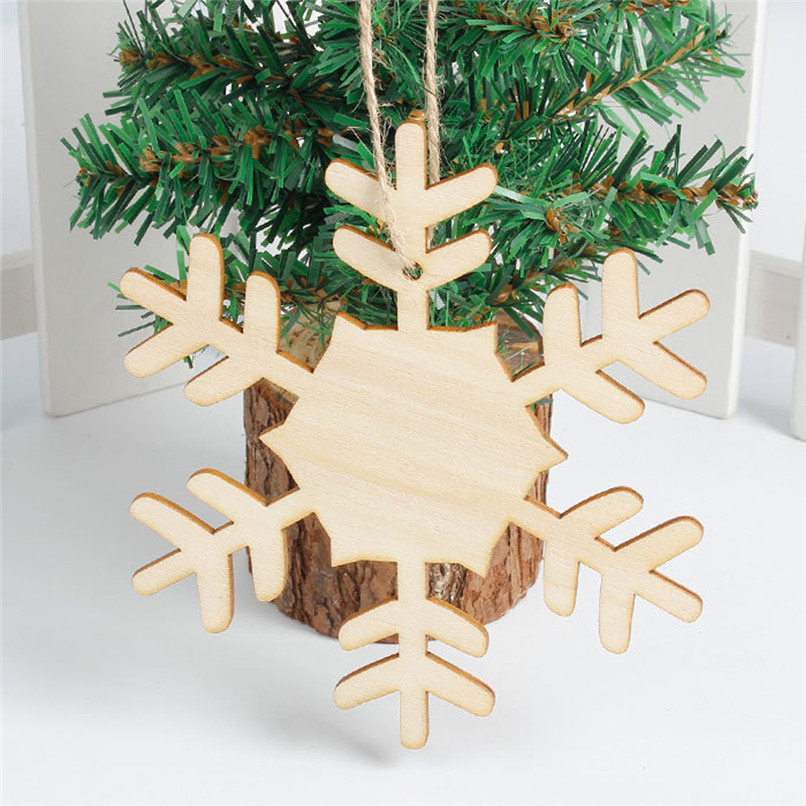snowflake wood embellishments rustic christmas tree hanging ornament decor wholesale free shipping 4rc26 in pendant drop ornaments from home garden on - Rustic Christmas Decorations Wholesale