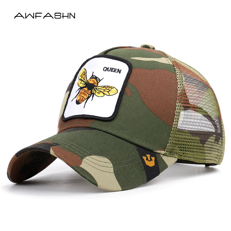 2019 Hot Sell High Quality   Baseball     Caps   Animal Embroidery Summer Mesh Hat Outdoor Sunshade Adjustable Women Men Sport Dad Hats
