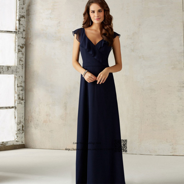 Navy Blue Bridesmaid Dresses Long Open Back Wedding Guest Dress 2017 Cap Sleeve Vestido De