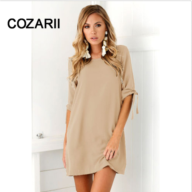 COZARII Summer Dress 2018 Women's Short Sleeve Casual O-Neck Loose DressSolid color dress Beach Dresses Plus Size Vestidos