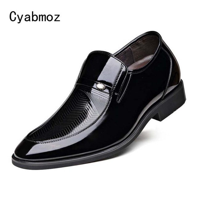 Cyabmoz Patent Leather Dress Shoes Men Slip on Casual Business Wedding Oxfords Man Formal Luxury Height Increasing 6cm Male Shoe