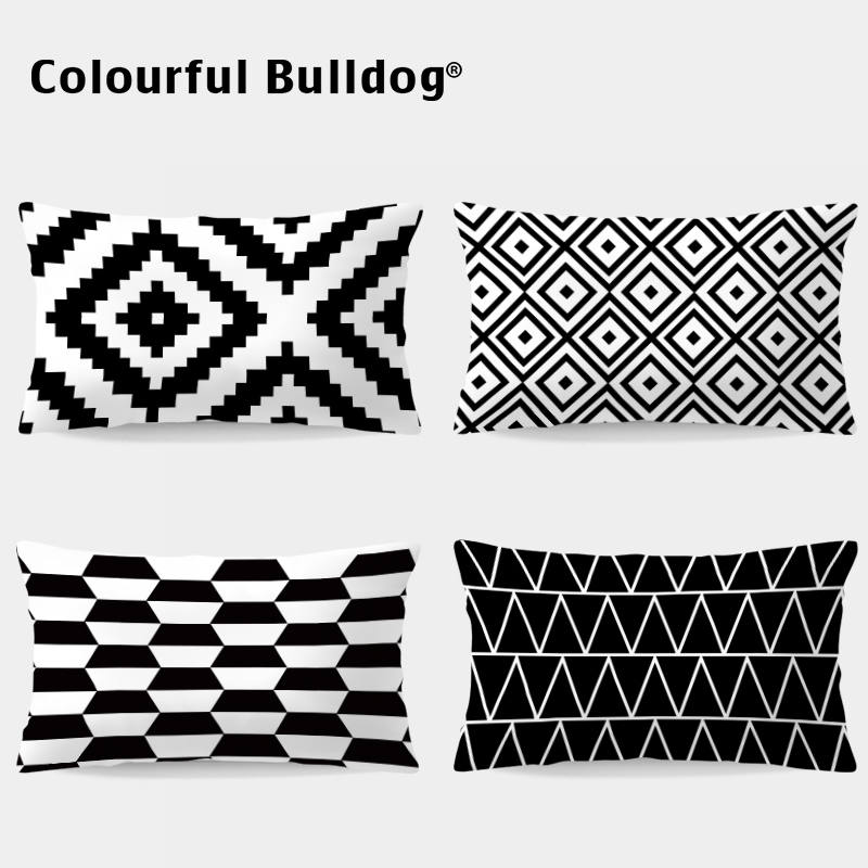 Black White Geometric <font><b>Pillow</b></font> Cushion <font><b>Case</b></font> Turkish Kilim Throw <font><b>Pillows</b></font> Living Room <font><b>30X50</b></font> Home Decor Zigzag Super Soft Chevron image