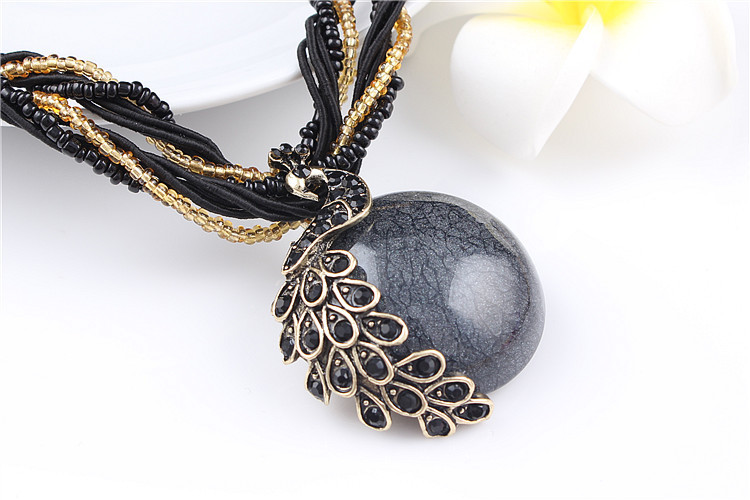ZOSHI Blue natural crystal stone pendant necklace fashion peacock pendant necklace for women jewelry 26